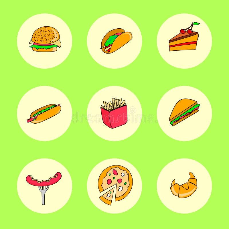 Os ícones do fast food ajustaram-se para o menu, o café e o restaurante Projeto liso ilustração royalty free