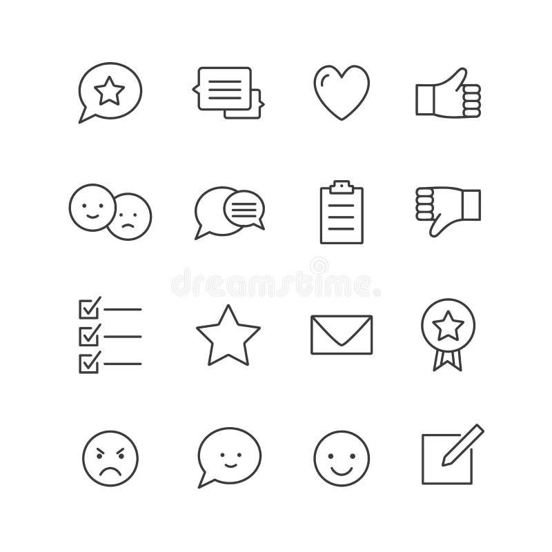 Os ícones do feedback diluem a linha grupo dos ícones das homenagens e do gerenciamento de relacionamento com o cliente ilustração royalty free