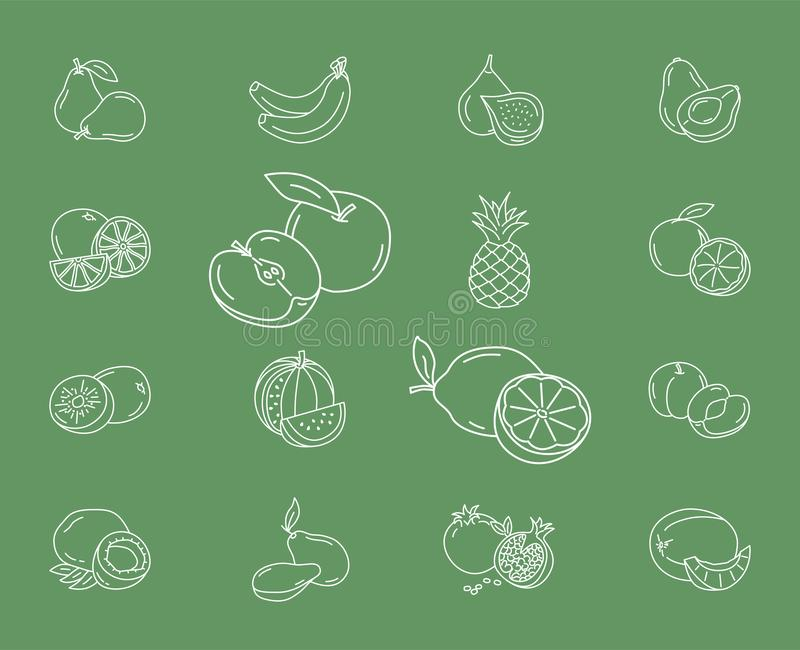 Os ícones do fruto ajustaram 01 ilustração royalty free