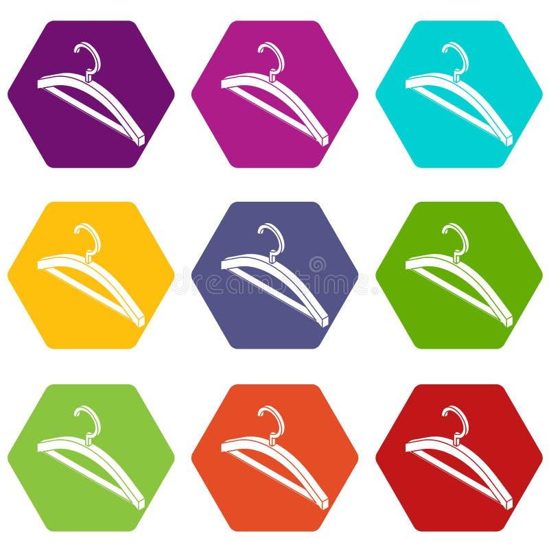 Os ícones do gancho de roupa ajustaram o vetor 9 ilustração do vetor