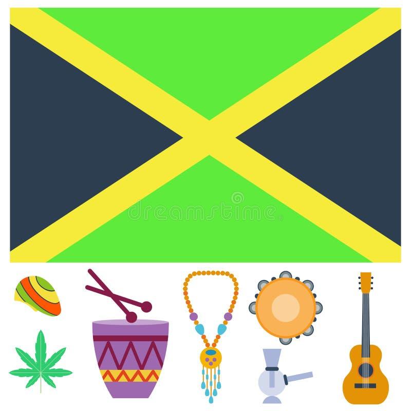 Os ícones do ganja da paz do cannabis de Rastafarian ajustaram-se na ilustração de fumo do vetor do equipamento da marijuana lisa ilustração do vetor