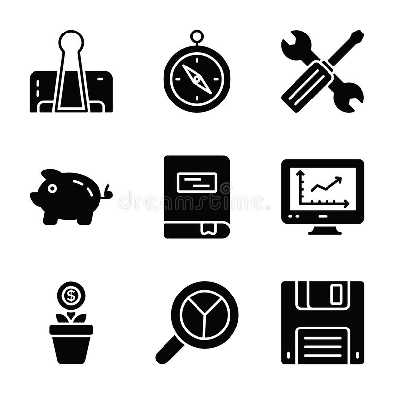 Os ícones do Glyph da finança e do negócio embalam ilustração do vetor
