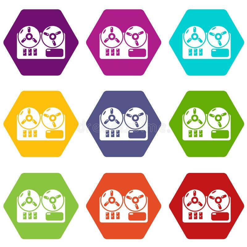 Os ícones do gravador do carretel ajustaram o vetor 9 ilustração stock