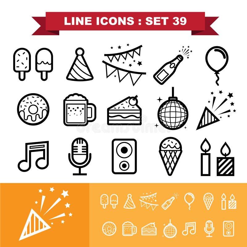 Os ícones do ine do partido ajustaram 39 ilustração royalty free