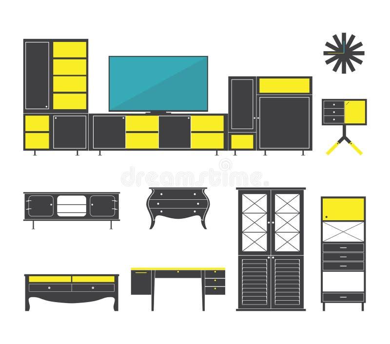 Os ícones do interior e da mobília ajustaram-se no projeto liso Vetor ilustração royalty free