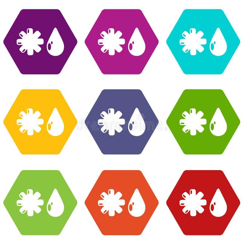 Os ícones do inverno ajustaram 9 ilustração stock