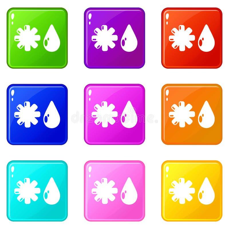 Os ?cones do inverno ajustaram a cole??o de 9 cores ilustração stock