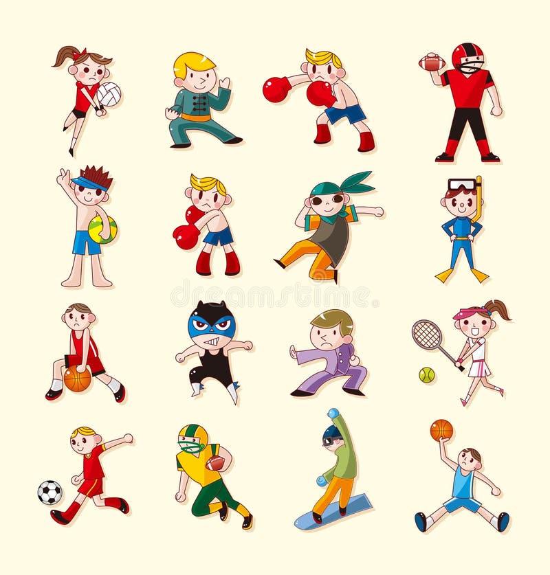 Ícones Do Jogador Do Esporte Ajustados Foto de Stock Royalty Free