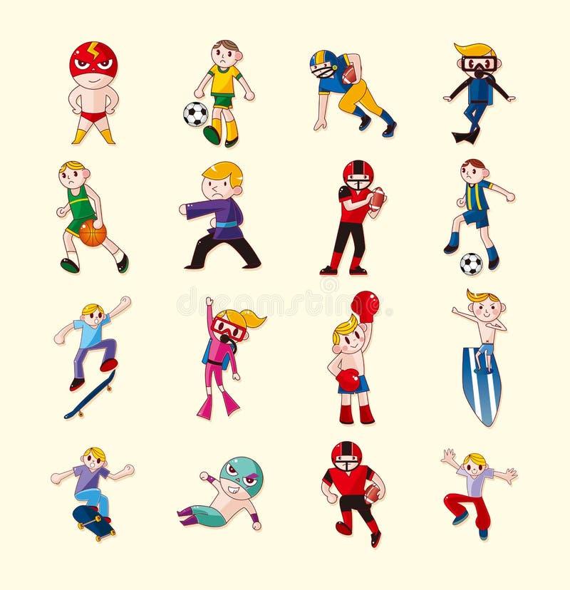 Ícones do jogador do esporte ajustados ilustração stock