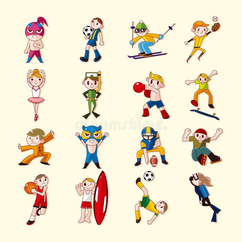 Ícones do jogador do esporte ajustados ilustração do vetor