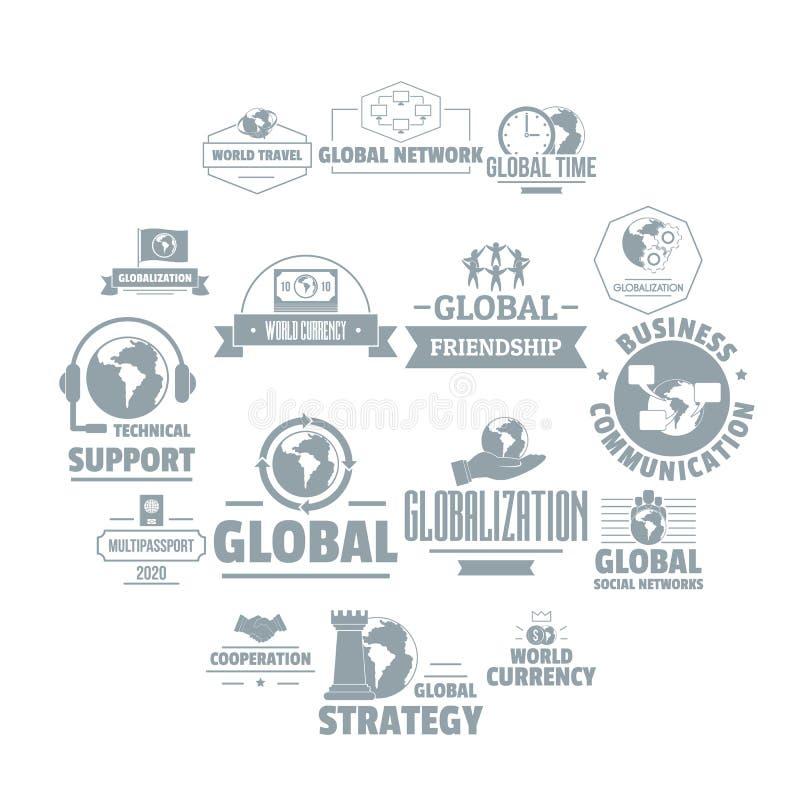 Os ícones do logotipo do negócio global ajustaram-se, estilo simples ilustração royalty free