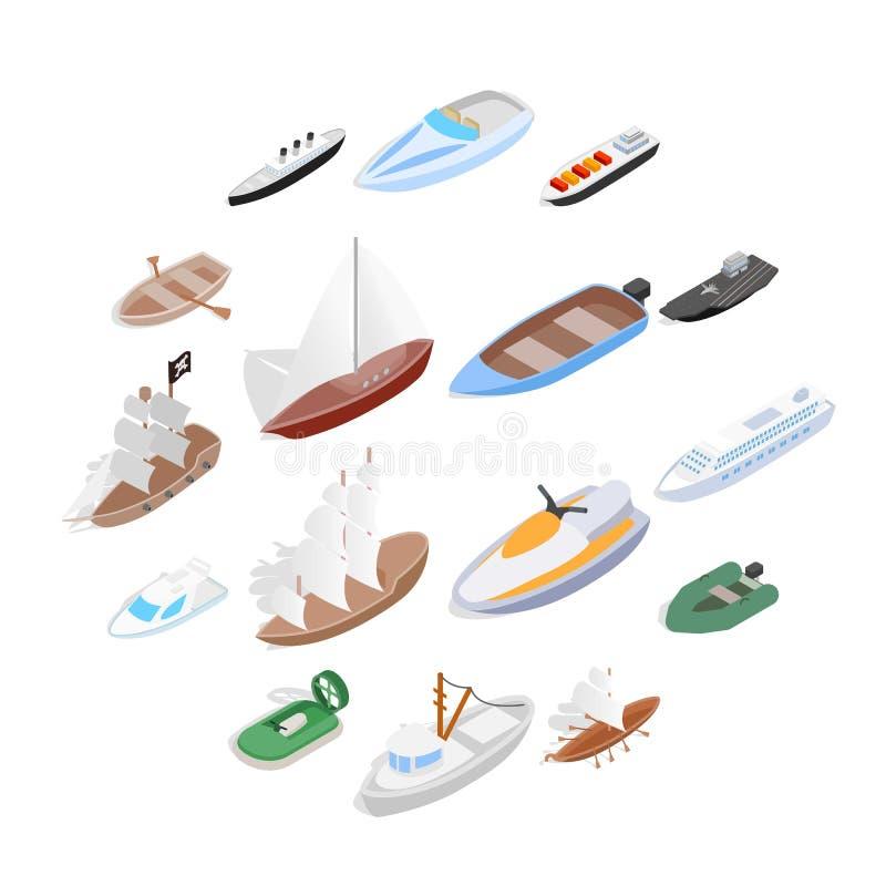 Os ícones do navio e do barco ajustaram-se, o estilo 3d isométrico ilustração stock