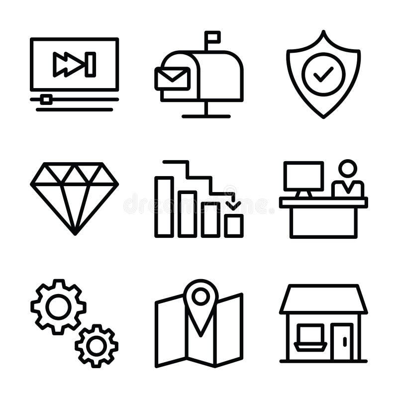 Os ícones do negócio e da finança empacotam ilustração do vetor
