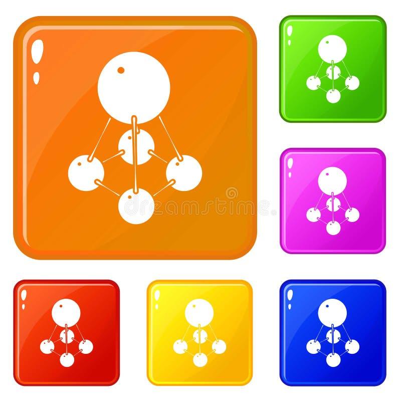 Os ícones do Nitromethane ajustaram a cor do vetor ilustração stock
