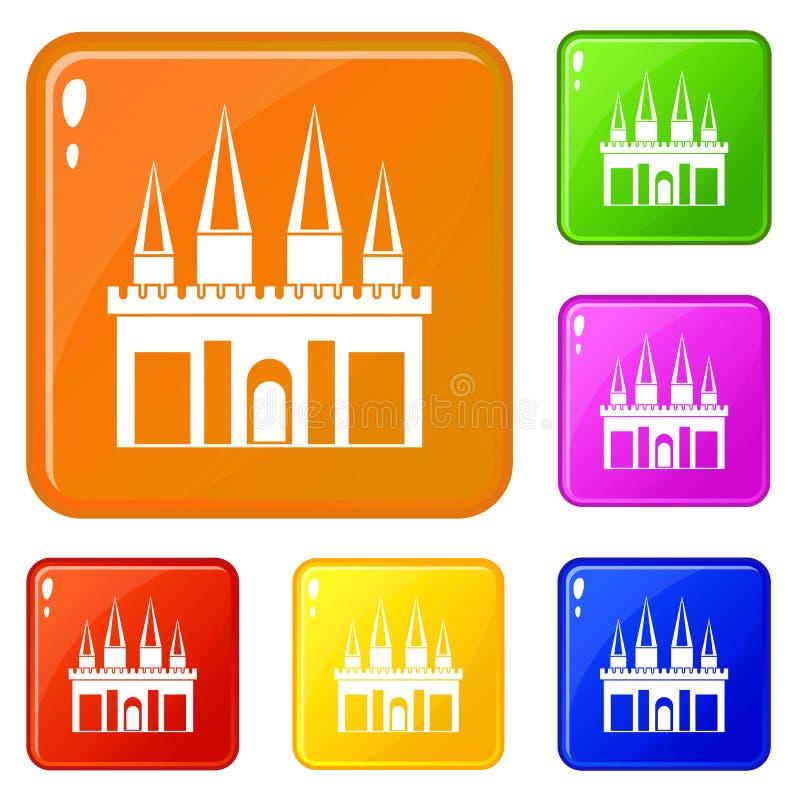 Os ícones do palácio do reino ajustaram a cor do vetor ilustração do vetor