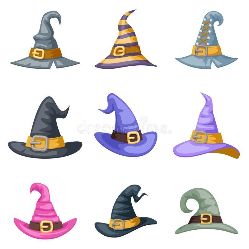 Os ícones do partido da criança do traje das crianças do Dia das Bruxas do chapéu da bruxa do artoon do disfarce ajustaram a ilus ilustração stock
