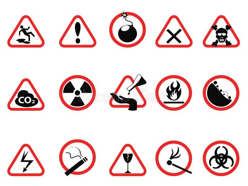 Os ícones do perigo sinais de advertência ajustam-se, triangulares e dos círculos de perigo ilustração royalty free
