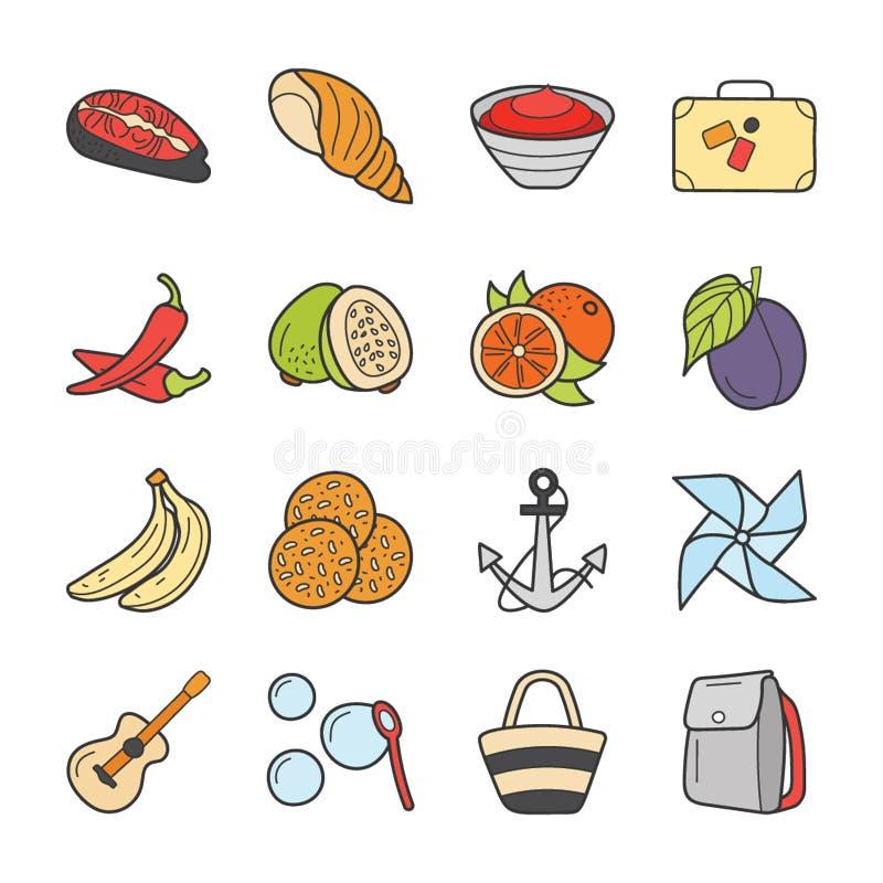 Os ícones do piquenique e do curso empacotam ilustração stock