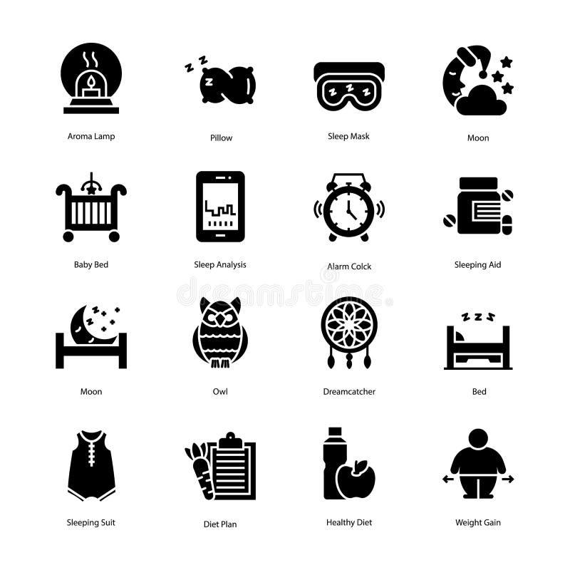Os ícones do plano do exercício e da dieta embalam ilustração stock