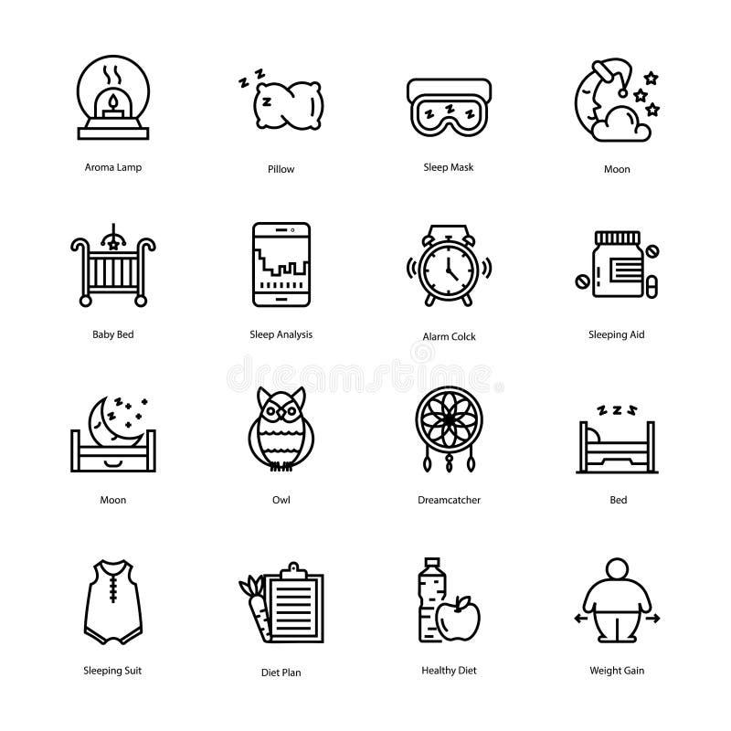 Os ícones do plano do exercício e da dieta embalam ilustração royalty free