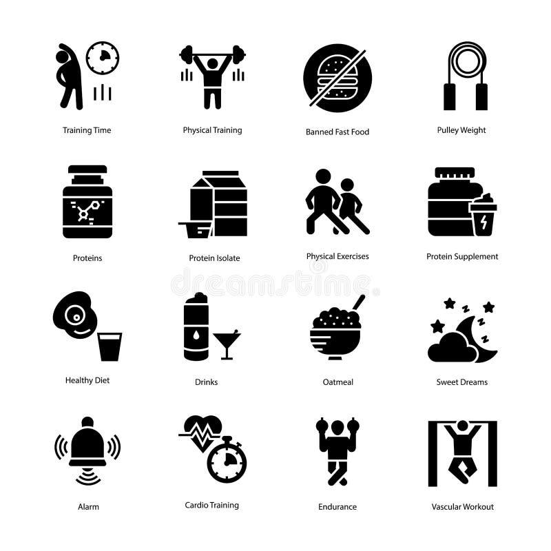 Os ícones do plano do exercício e da dieta empacotam ilustração stock