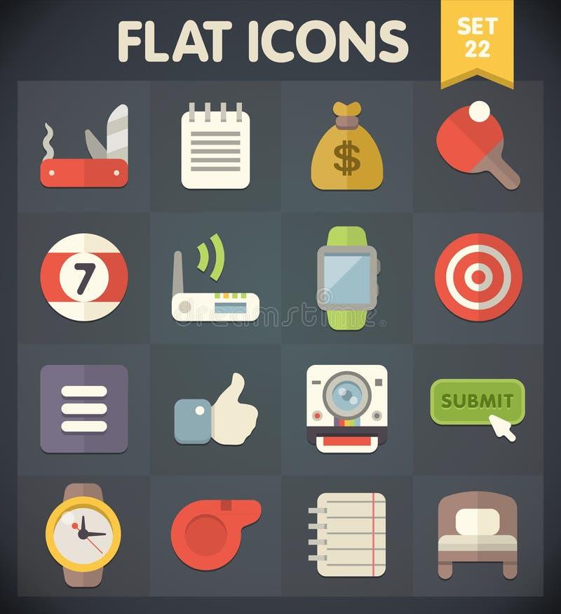 Os ícones do plano universal para a Web e o móbil ajustaram 22 ilustração do vetor