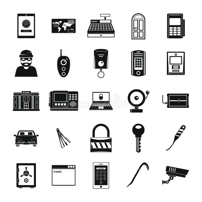 Os ícones do plunderer do ladrão do assaltante ajustaram-se, estilo simples ilustração stock