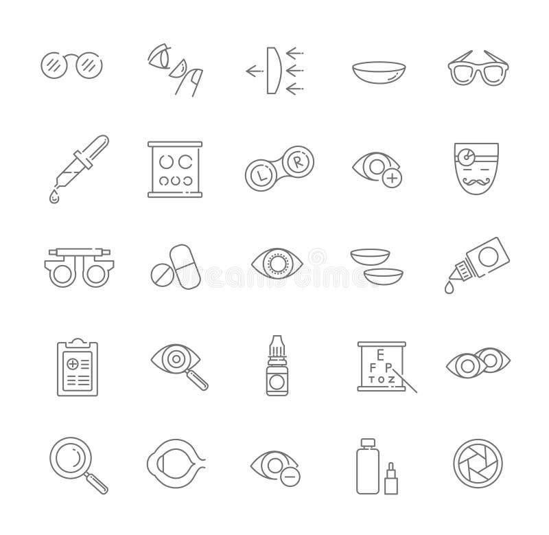 Os ícones do preto da saúde dos olhos da correção da visão da optometria do oculista ajustaram a ilustração do vetor ilustração stock