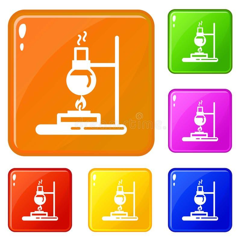 Os ícones do queimador do laboratório da garrafa ajustaram a cor do vetor ilustração stock