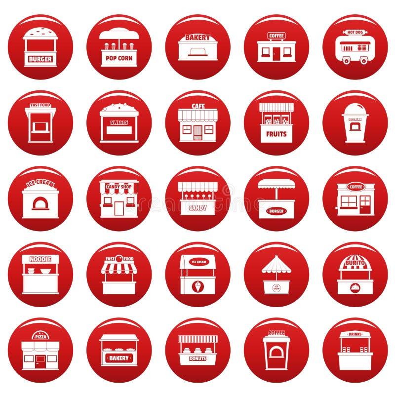 Os ícones do quiosque do alimento da rua ajustaram o vetor vermelho ilustração stock