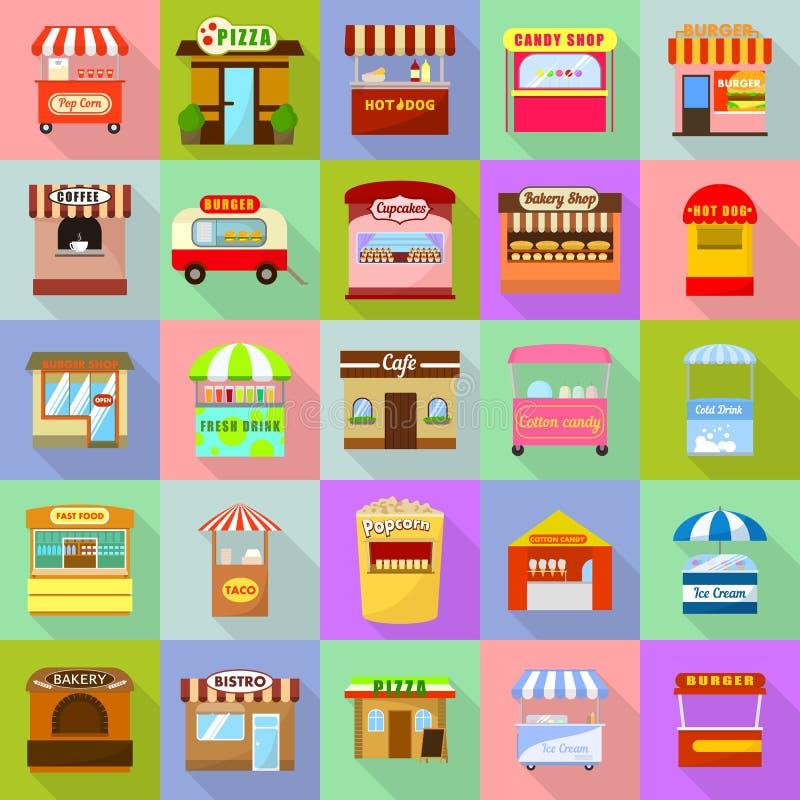 Os ícones do quiosque do alimento da rua ajustaram-se, estilo liso ilustração stock