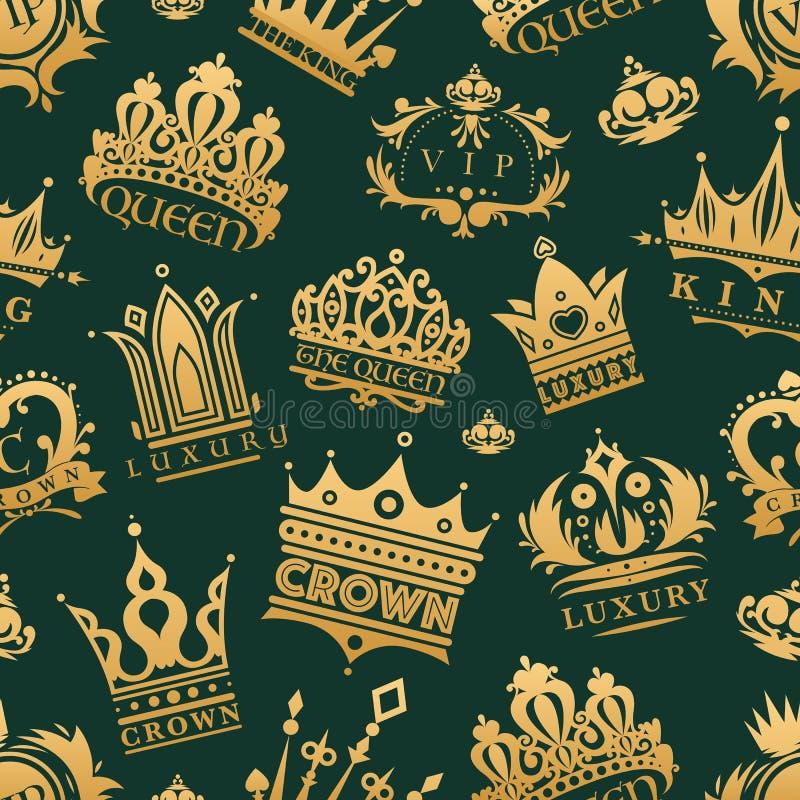 Os ícones do rei da coroa do ouro ajustaram o fundo sem emenda do teste padrão da ilustração do vetor do sinal da joia do vintage ilustração royalty free