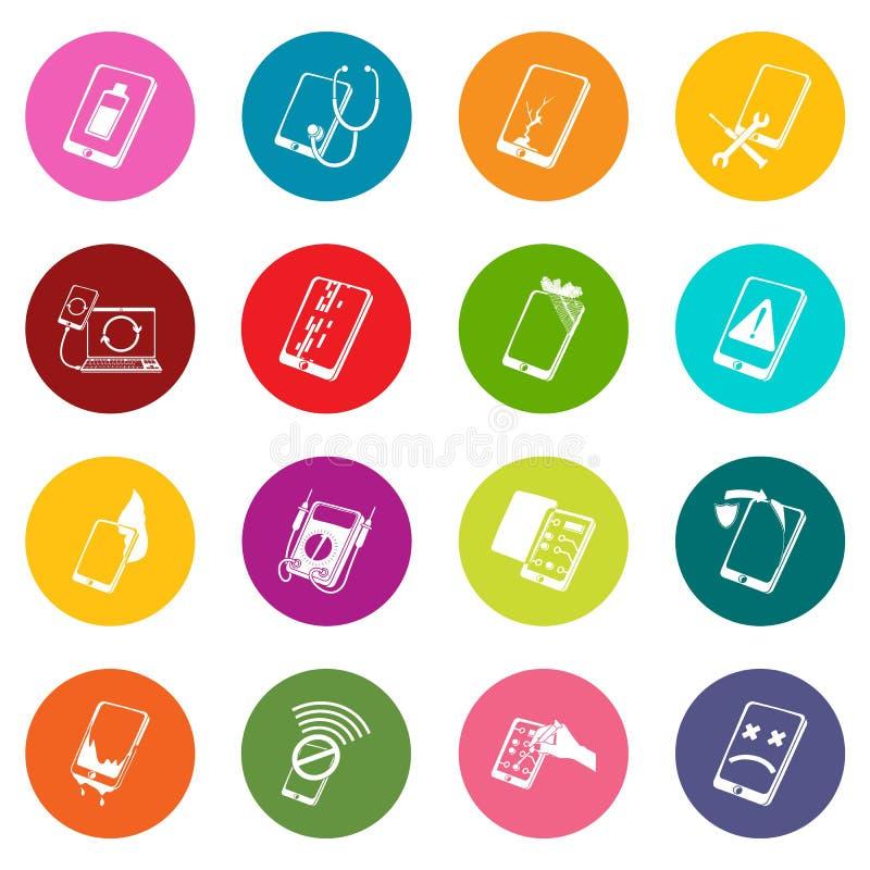 Os ícones do reparo dos telefones do reparo ajustaram o vetor colorido dos círculos ilustração stock
