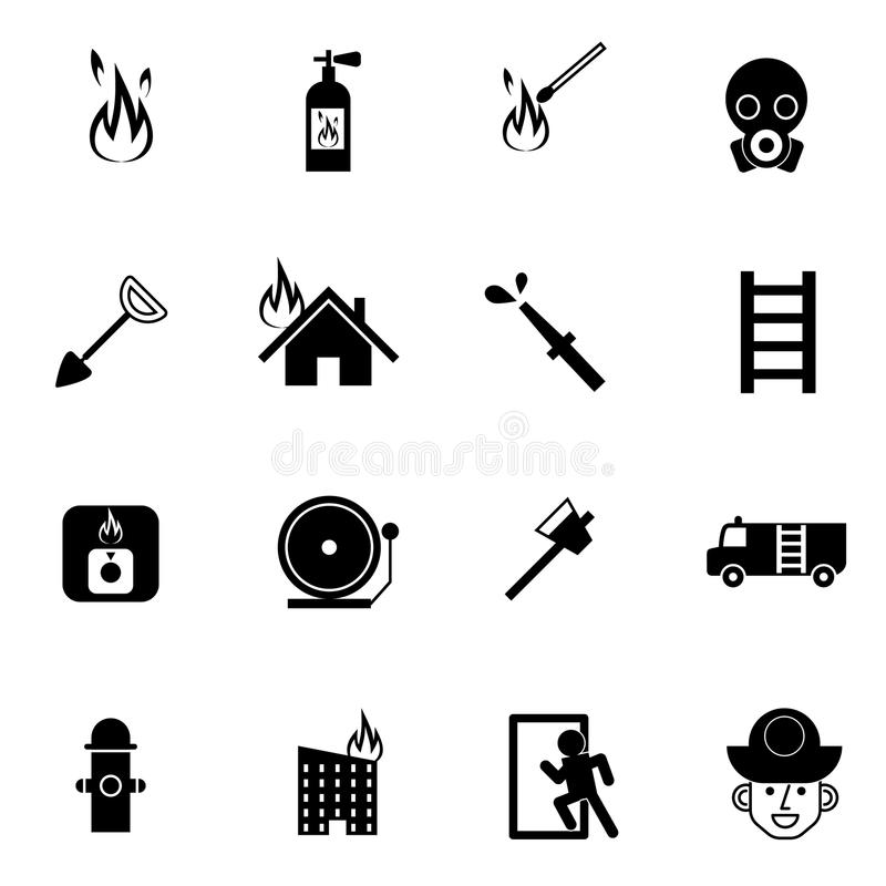Os ícones do salvamento do bombeiro e da emergência ajustaram a ilustração do vetor ilustração royalty free
