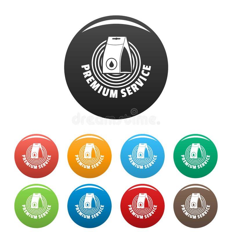 Os ícones do serviço de lavanderia ajustaram a cor ilustração do vetor