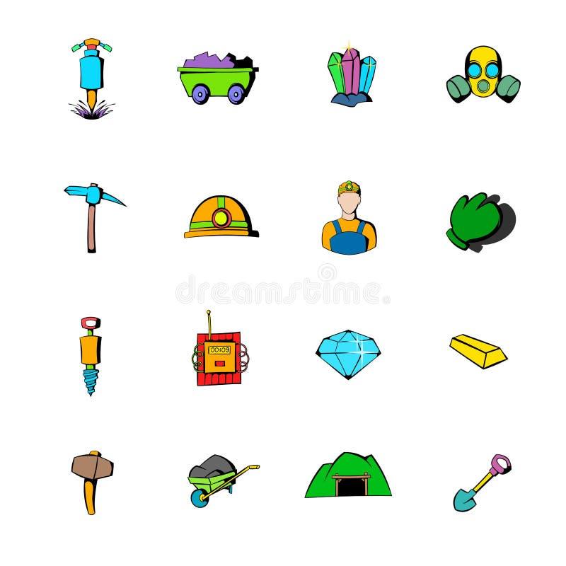 Os ícones do setor mineiro ajustaram desenhos animados ilustração do vetor