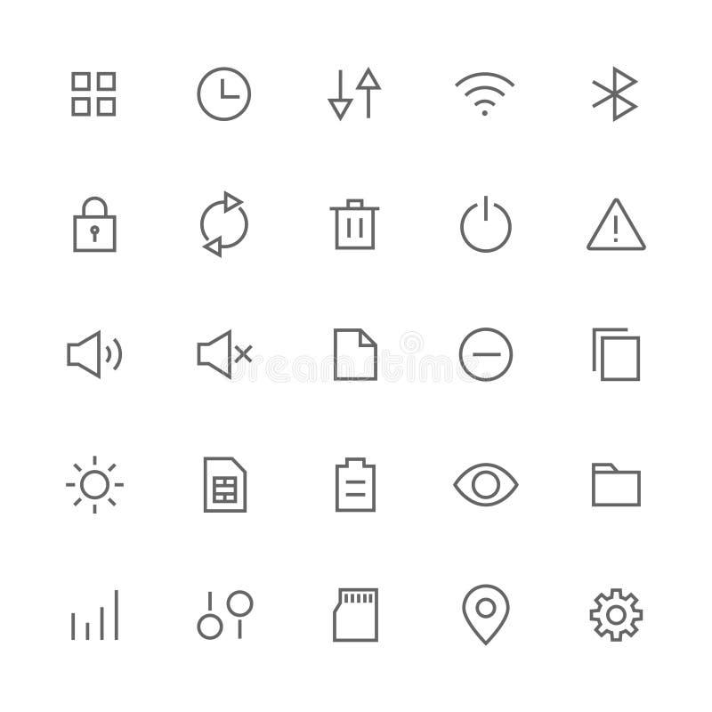Os ícones do sistema e do ajuste relacionaram-se para a Web e o vetor conservado em estoque móvel ilustração stock