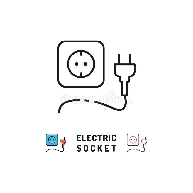 Os ícones do soquete bonde e da tomada, sinal da eletricidade, Vector a linha fina ícone da arte ilustração royalty free