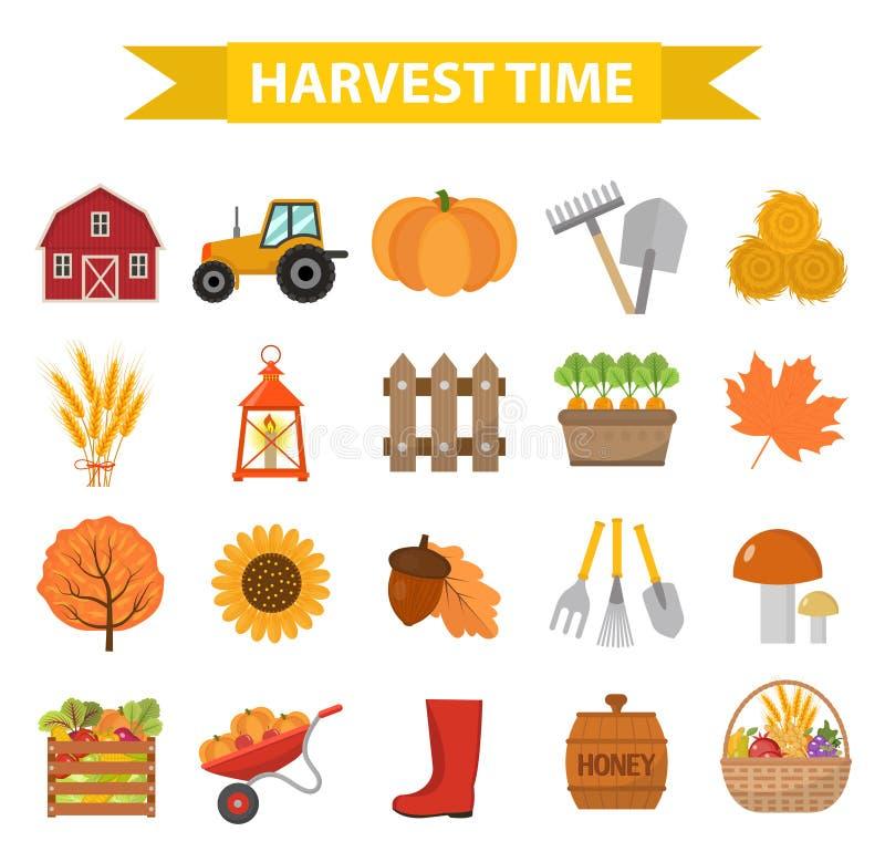 Os ícones do tempo de colheita do outono ajustaram o estilo liso dos desenhos animados ilustração royalty free