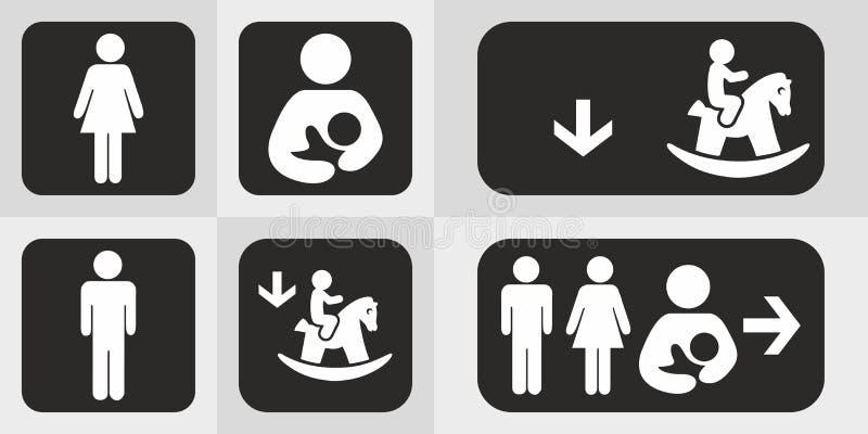 Os ?cones do toalete ajustaram o wc do toalete do menino ou da menina ilustração stock