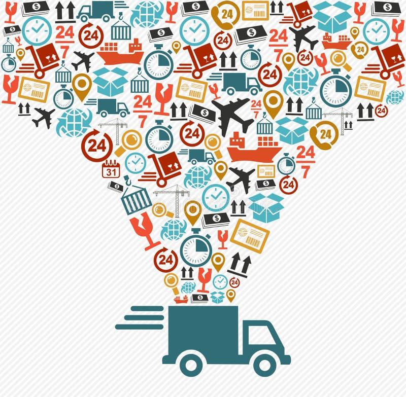 Os ícones do transporte ajustaram o conceito rápido do caminhão de entrega doente ilustração do vetor
