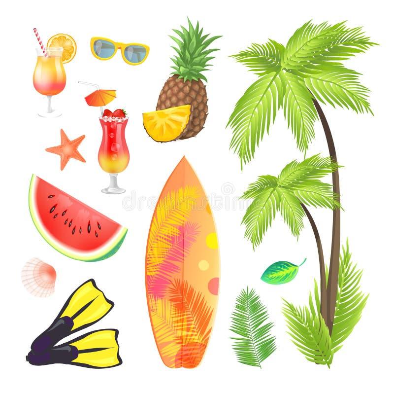 Os ícones do verão ajustaram a ilustração do vetor dos frutos ilustração do vetor