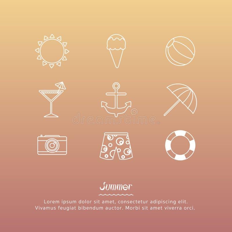 Os ícones do verão projetam o grupo ilustração do vetor