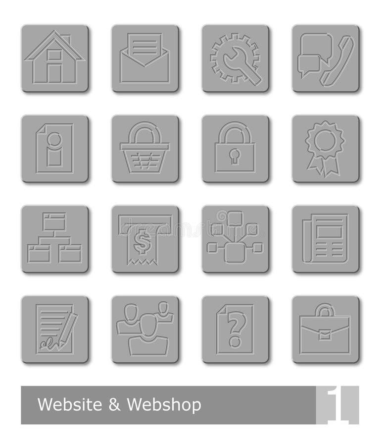 Os ícones do vetor ajustados para o Web site e a Web compram; botões do metal ilustração royalty free