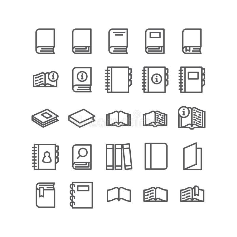 Os ícones do vetor ajustaram livros para ler no fundo branco ilustração stock