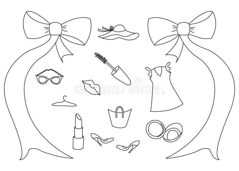 Os ícones do vetor ajustaram-se da roupa e dos acessórios do ` s das mulheres O grupo de artigos tirados mão da beleza e do bem-e ilustração stock
