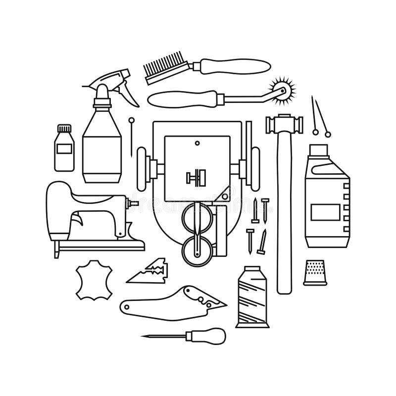 Os ícones do vetor ajustaram-se de ferramentas do ` s do peleteiro ilustração stock