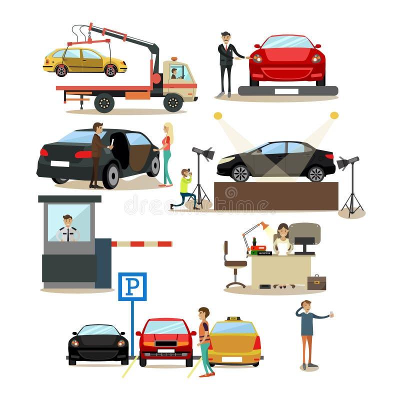 Os ícones do vetor ajustaram-se dos carros e dos povos que tratam eles ilustração stock