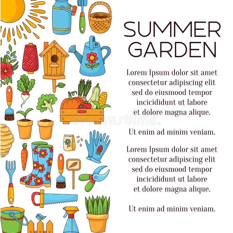 Os ícones do vetor do artigo do jardim projetam ilustração stock
