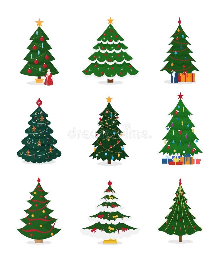 Os ícones do vetor da árvore do ano novo do Natal com o presente do xmas da estrela do ornamento projetam a planta do partido da  ilustração do vetor